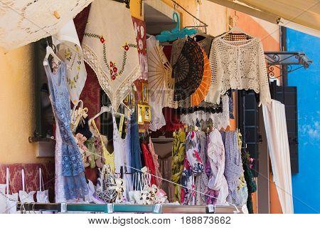 BURANO, ITALY - MAY 23, 2017: Showcase souvenir shop on Burano, Venice