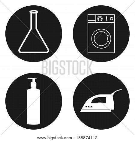 Laundry, alterations, dry cleaning and sewing icons in circle button.. Vector illustration.