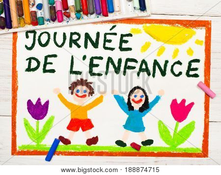 Colorful drawing: Children's day card with French words Children's day