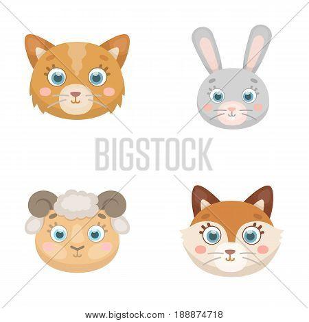 Cat, rabbit, fox, sheep. Animal's muzzle set collection icons in cartoon style vector symbol stock illustration .