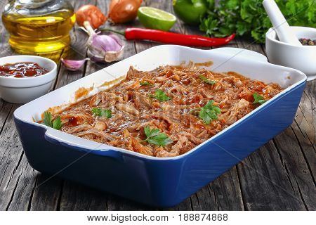 Shredded Chicken Meat Tossed In Sauce
