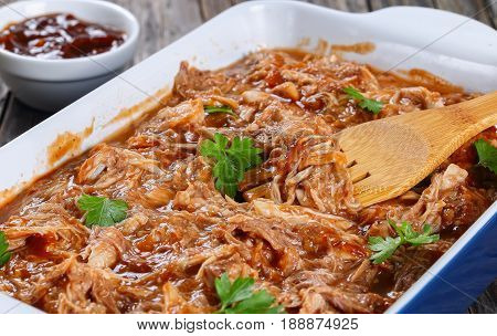 Shredded Meat Tossed In Barbecue Sauce