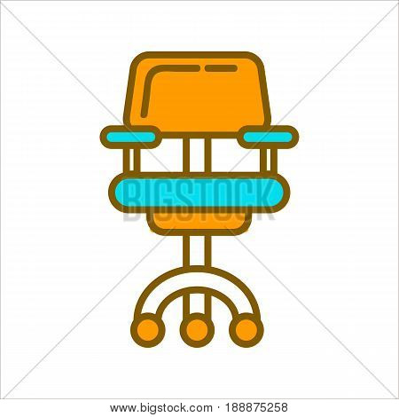Office chair in blue and yellow colors graphic vector illustration. Moving piece of furniture with back and armrests for sitting and using at houses and companies. Armchair isolated on white