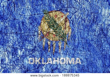 Grudge stone painted US Oklahoma flag close