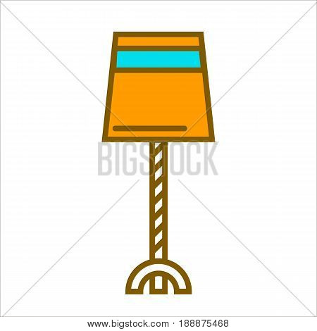 Table straight lamp with cover in triangular shape with cut top on white. Closeup vector illustration in flat design of isolated yellow lighting equipment on thin leg working by using electricity
