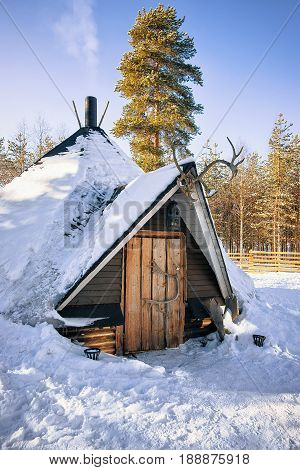 Traditional Lappish House In Winter Reindeer Farm