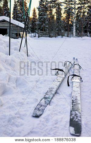 Ski At Farm In Winter Rovaniemi