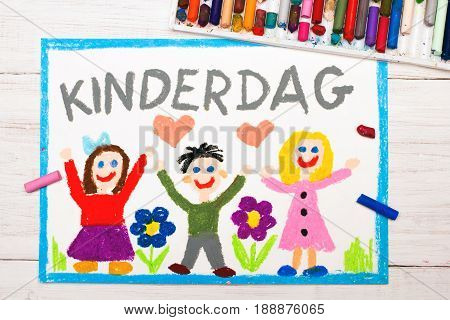 Colorful drawing: Children's day card with Holland words: Children's Day
