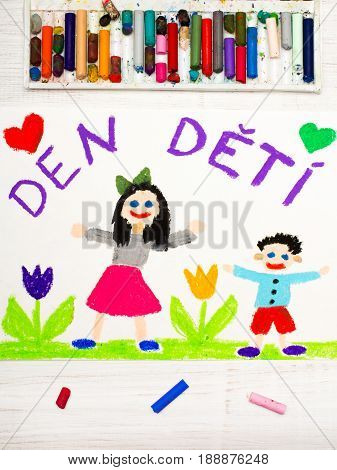 Colorful drawing. Children's day card with Czech words: Children's Day