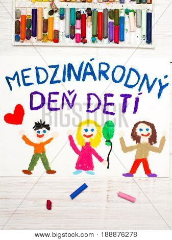 Colorful drawing. Children's day card with Slovak words Children's day.