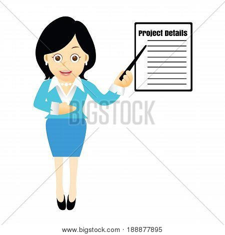 Businessman Giving a Presentation.Women with advice and clarification.