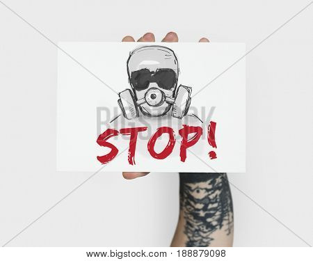 Stop Anti Against Abandon Gas Mask Word Graphic