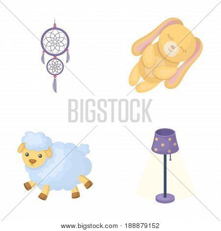 Dream catcher, soft toy sheep and rabbit, floor lamp. Rest and sleep set collection icons in cartoon style vector symbol stock illustration .