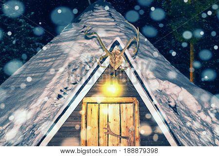 Lappish House In Reindeer Farm In Winter Lapland Night Snowfall