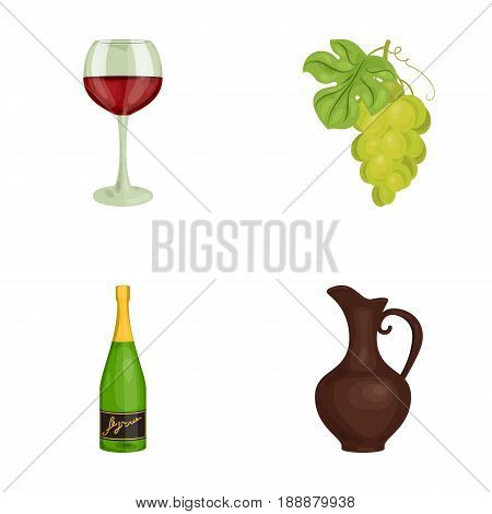 A glass of red wine, champagne, a jug of wine, a bunch. Wine production set collection icons in cartoon style vector symbol stock illustration .