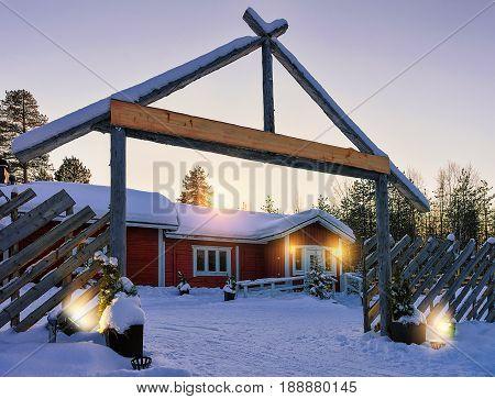 House In Reindeer Farm In Winter Lappish Rovaniemi