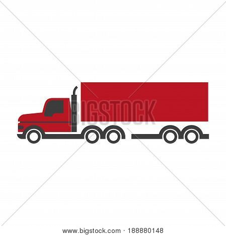 Lorry symbol in red and black colors isolated on white. Fast mean of transportation for carrying and delivering various things and products vector colorful graphic illustration in flat design