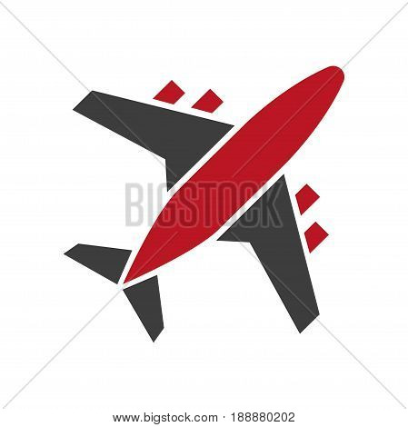 Plane icon in red and black colors isolated on white. Passenger aircraft symbol with wings and tail presenting fast mean of transportation by air. Vector illustration in flat design of airplane