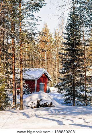 House At Reindeer Farm In Winter Lappish Rovaniemi