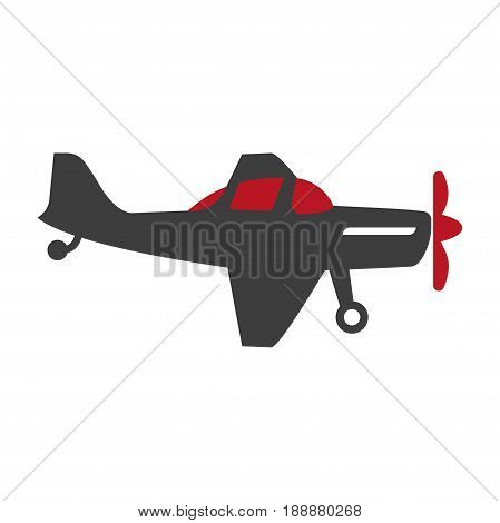 Plane transport silhouette isolated on white vector illustration in flat design. Fast mean of transportation by air with two wings, cabin for passengers, tail and red rotating blades on nose.