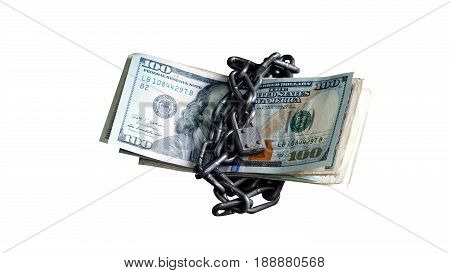 US dollars bills isolated on white. Currency foreign exchange. Business and Financial or money management for investments.