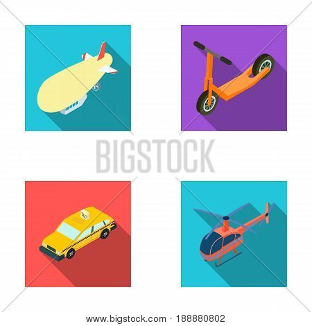 A dirigible, a children's scooter, a taxi, a helicopter.Transport set collection icons in flat style vector symbol stock illustration .