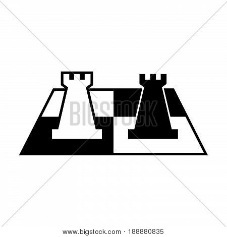 Chess symbol, two chess pieces on chess board