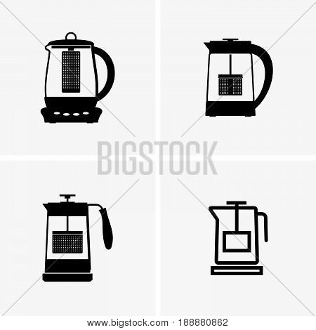 Set of four electric kettles with tea filter