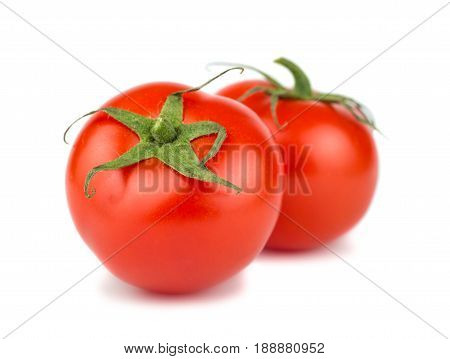 Pair of ripe red tomato on white background