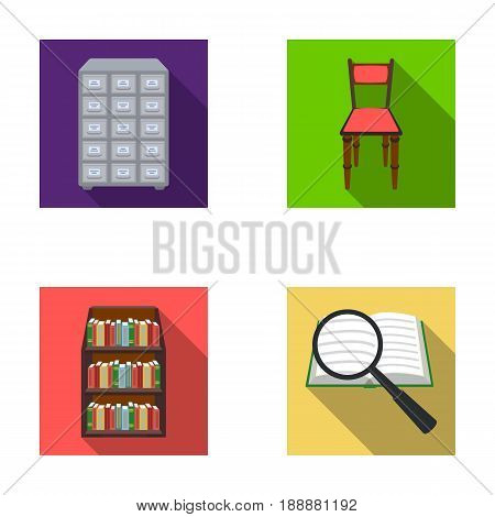 Cabinet with filing cabinet, chair, shelves, information search. Library and bookstore set collection icons in flat style vector symbol stock illustration .