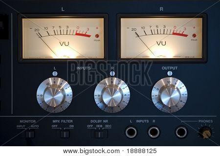 Old-style modern amplifier closeup