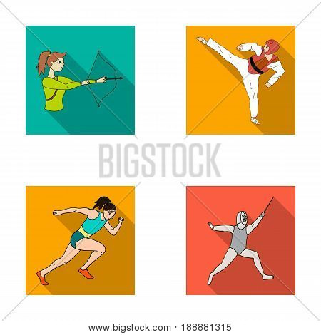 Archery, karate, running, fencing. Olympic sport set collection icons in flat style vector symbol stock illustration .