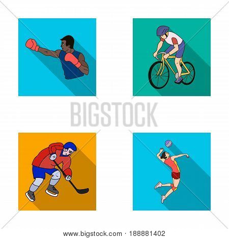 Cycling, boxing, ice hockey, volleyball.Olympic sport set collection icons in flat style vector symbol stock illustration .