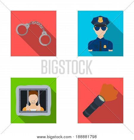 Handcuffs, policeman, prisoner, flashlight.Police set collection icons in flat style vector symbol stock illustration .