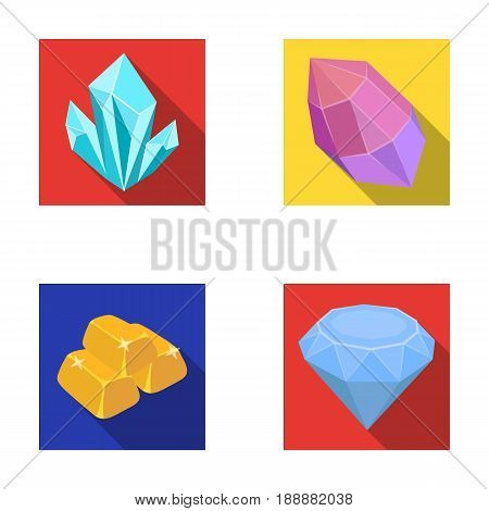 Crystals, minerals, gold bars. Precious minerals and jeweler set collection icons in flat style vector symbol stock illustration .