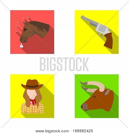 Head of a horse, a bull's head, a revolver, a cowboy girl.Rodeo set collection icons in flat style vector symbol stock illustration .
