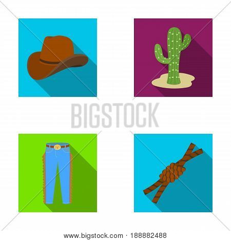 Hat, cactus, jeans, knot on the lasso. Rodeo set collection icons in flat style vector symbol stock illustration .