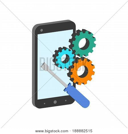 Smartphone Repair Symbol. Flat Isometric Icon Or Logo. 3D Style Pictogram For Web Design, Ui, Mobile