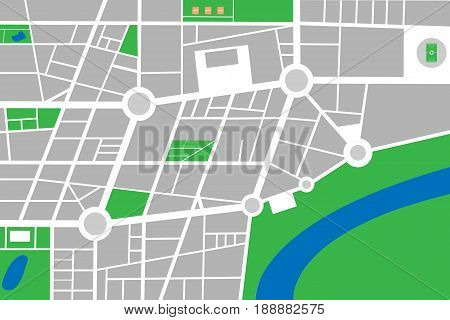 City small abstract town map vector with streets parks and river