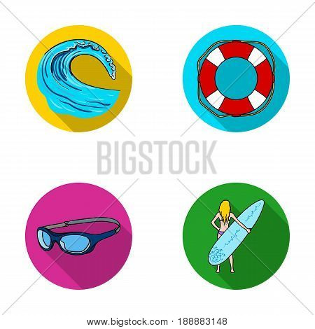 Oncoming wave, life ring, goggles, girl surfing. Surfing set collection icons in flat style vector symbol stock illustration .
