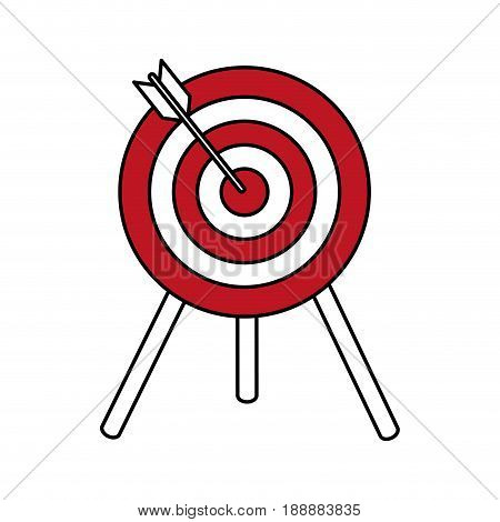 Flat line target with arrow over white background. Vector illustration.