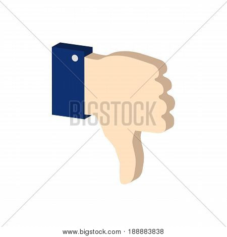 Thumb Down Symbol. Flat Isometric Icon Or Logo. 3D Style Pictogram For Web Design, Ui, Mobile App, I