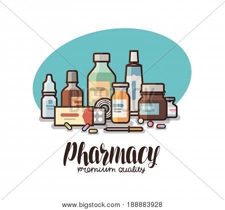 Pharmacy, drugstore label. Medical supplies, bottles liquids, pills, capsules icon or logo. Lettering vector illustration isolated on white background
