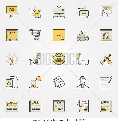 News colorful icons set. Vector creative news broadcasting signs. Newspapers, satellite, reporter, microphone and other media linear symbols