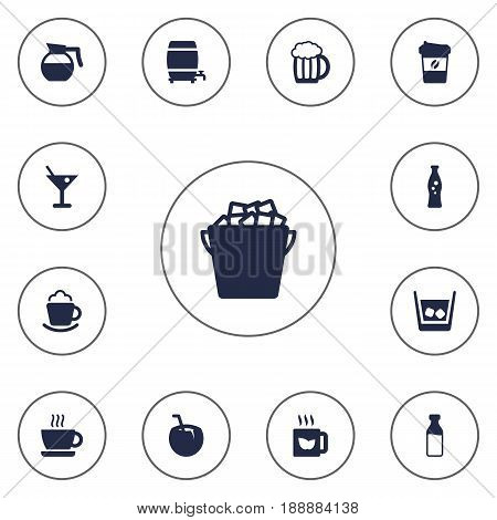 Set Of 13  Icons Set.Collection Of Fizzy Water, Bottle, Hot And Other Elements.