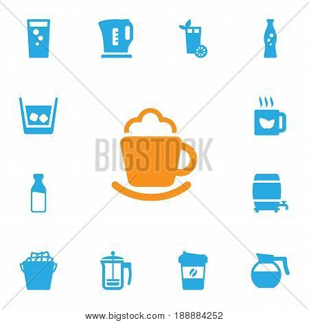Set Of 13 Drinks Icons Set.Collection Of Electric Teapot, Espresso, Soda And Other Elements.