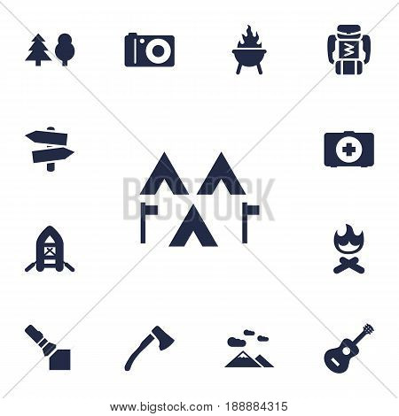 Set Of 13 Outdoor Icons Set.Collection Of Signpost, Wood Axe, First Aid Box And Other Elements.