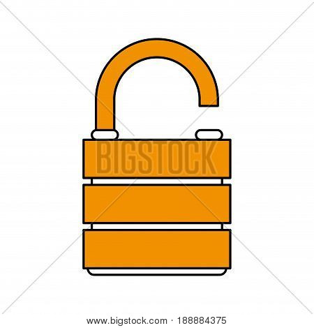 Flat line unlocked lock icon over white background. Vector illustration.
