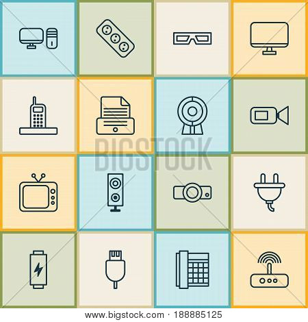Icons Set. Collection Of Computer Monitor, Print Device, Video Camcorder And Other Elements. Also Includes Symbols Such As Plug, Cord, Display.
