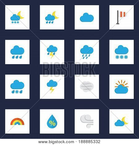 Meteorology Flat Icons Set. Collection Of Crescent, Storm, Cloud And Other Elements. Also Includes Symbols Such As Crescent, Shower, Lightning.